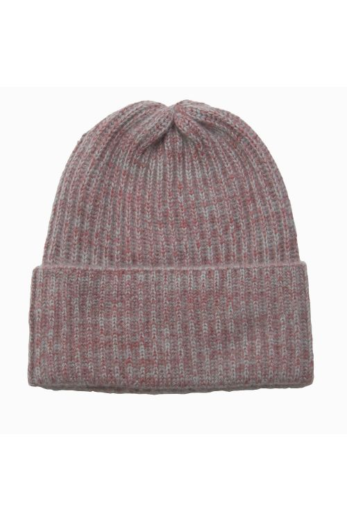 Cashmere Beanie Marius Twisted Red/Grey by Warm-Me