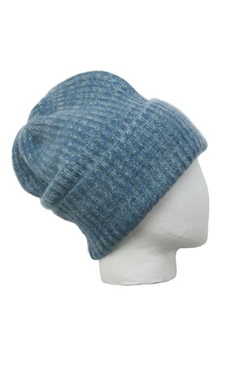 Cashmere Beanie Marius Twisted  Blue/Grey by Warm-Me