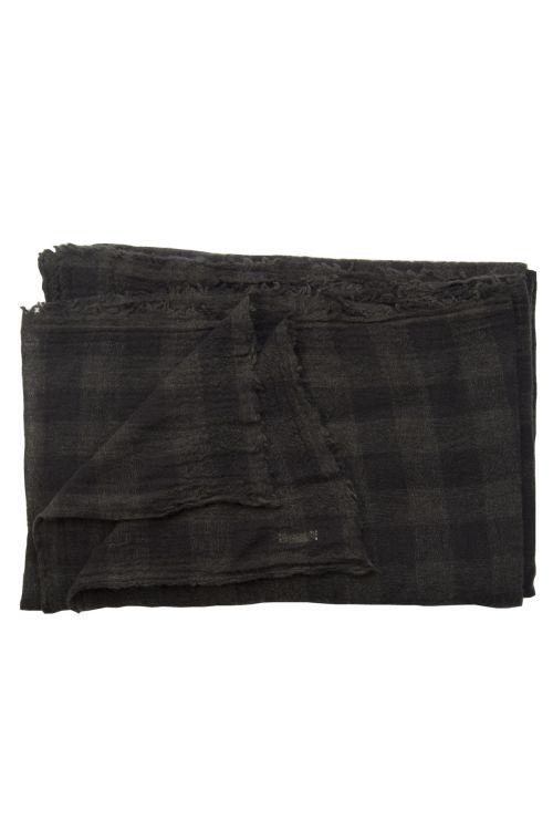 Cashmere Scarf Dark Brown Check by ApuntoB-TU