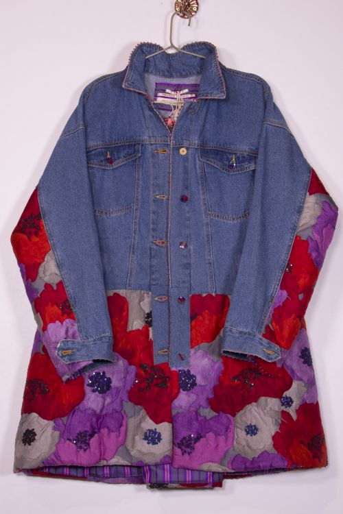 Upcycled Denim Jacket with Quilted Flower Print by Pero-S