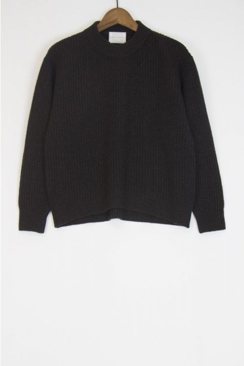 Wool and Cashmere Sweater Kate Charcoal Brown by Ecole de Curiosites