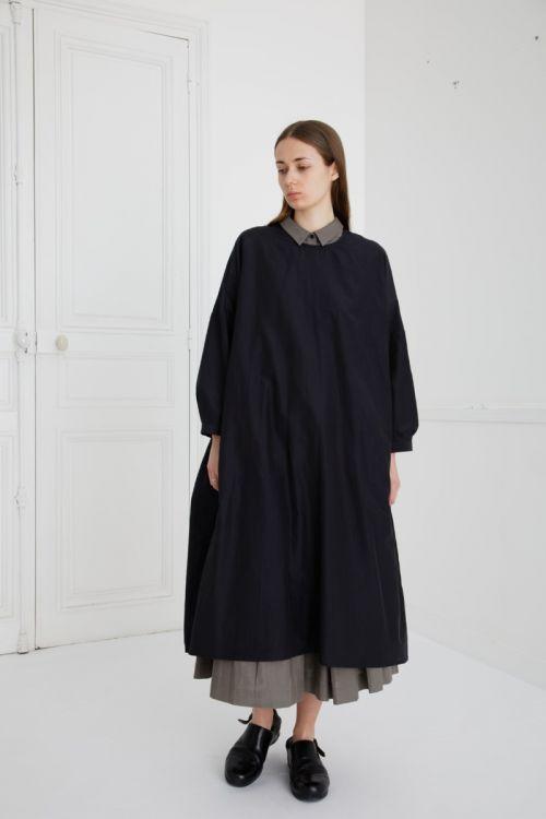 Silk and Cotton Dress Damia Ink Black by Ecole de Curiosites