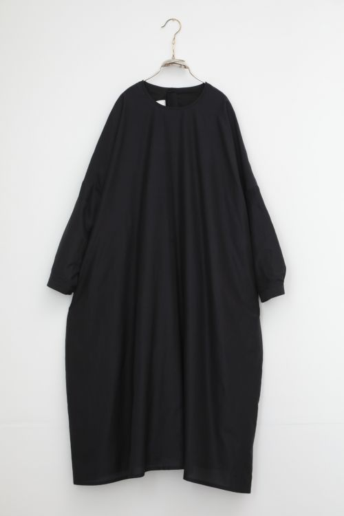Silk and Cotton Dress Damia Ink Black by Ecole de Curiosites-S