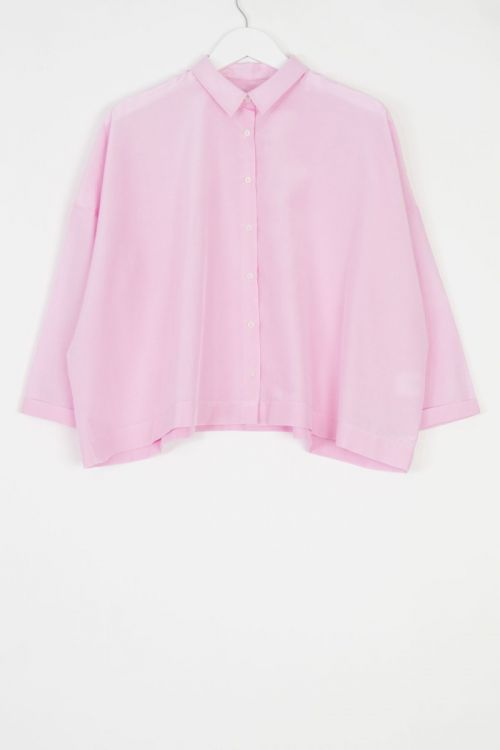 Silk and Cotton Shirt Brigitte Lilac Pink by Ecole de Curiosites