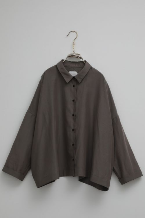 Silk and Cotton Shirt Brigitte Smoke Taupe by Ecole de Curiosites