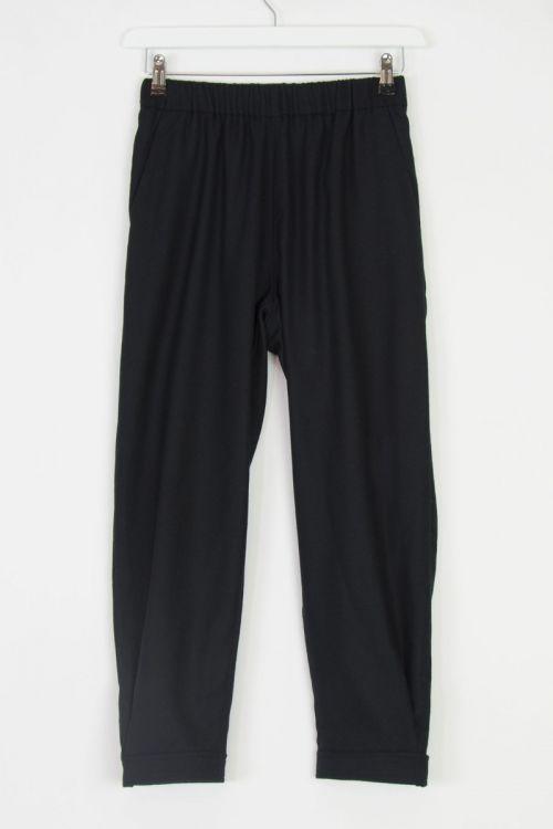 Wool Gabardine Trousers Philip Black by Ecole de Curiosites