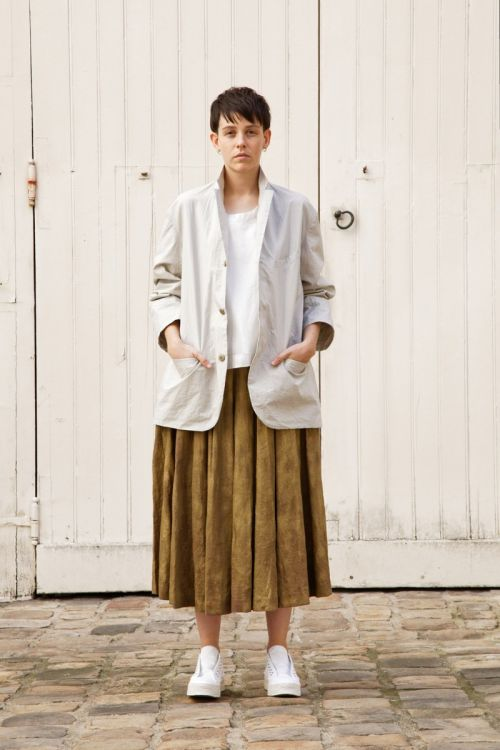 Linen Pleated Skirt Solange Brass by Ecole de Curiosites