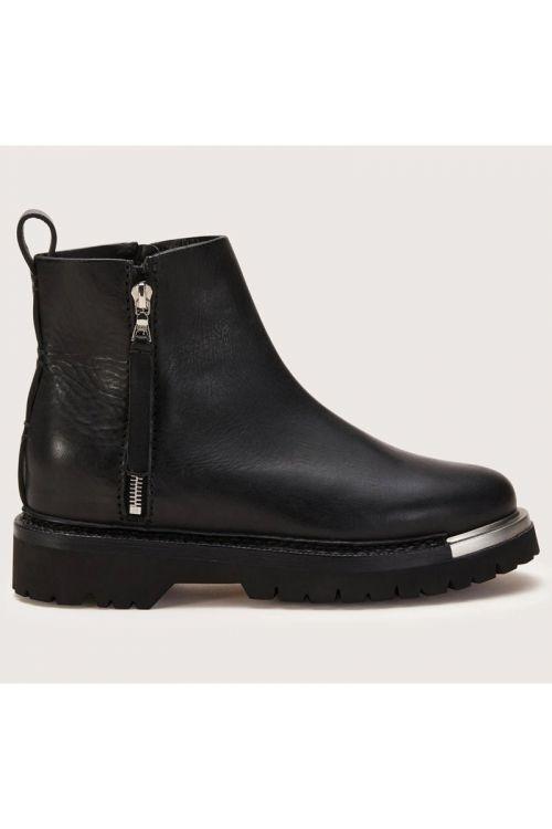 Chunky Metal Zip Leather Boot-36EU