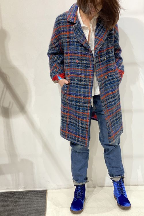 Wool Coat Blue Check by Pero