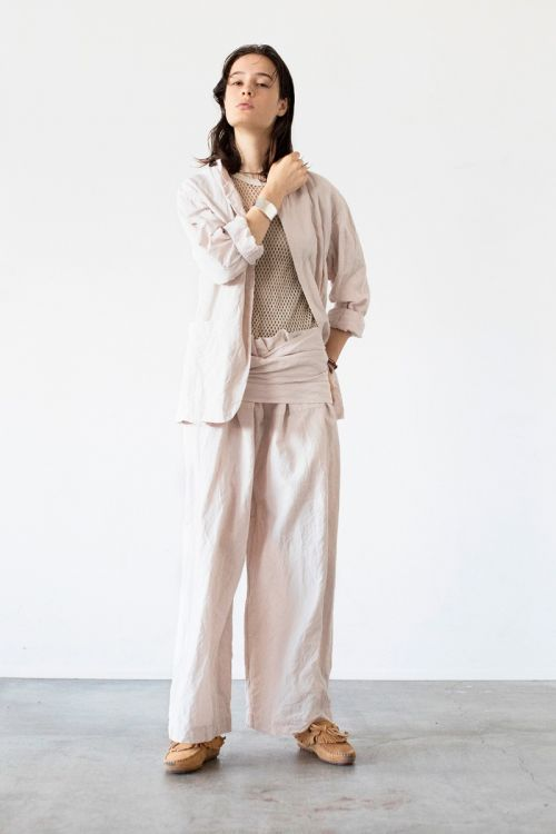 Cotton and Linen Thai Style Wide Pants Pale Pink by Toujours