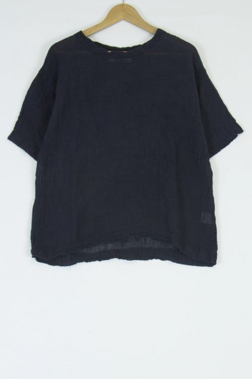 Linen Box Tee Blouse Black by Kaval
