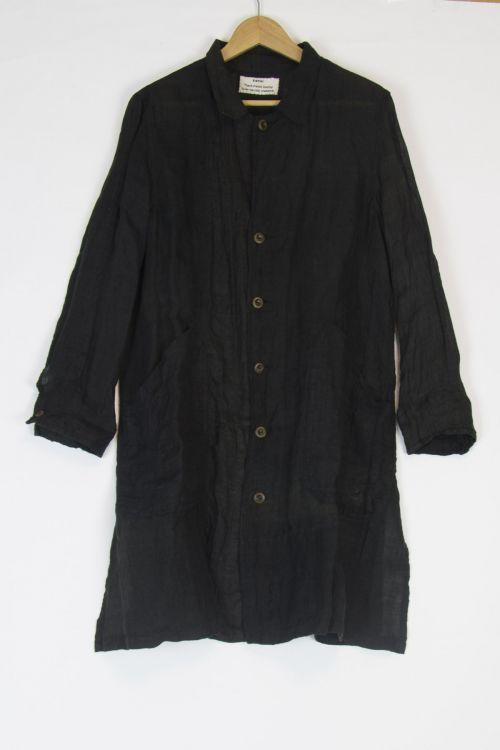 Japanese Vintage Linen Coat Black by Kaval-TU