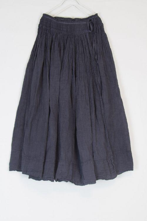 Smocking Wrap Linen Skirt Grey by Kaval-TU
