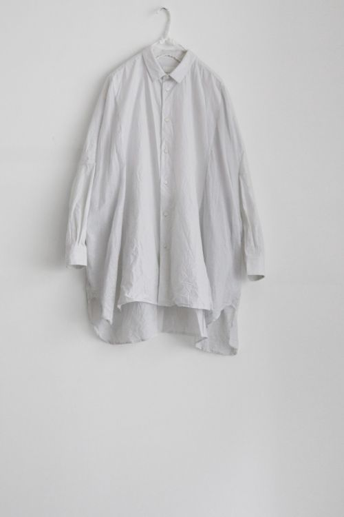 Cotton and Silk Oversized Shirt Smoke White by Toujours