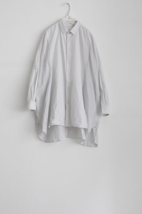Cotton and Silk Oversized Shirt Smoke White by Toujours-S