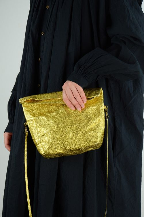 Metallic Leather Shoulder Bag Gold by Zilla-TU