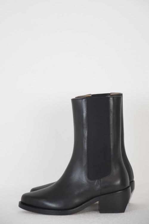 Leather Chelsea Western Mid Boots Black by LEGRES