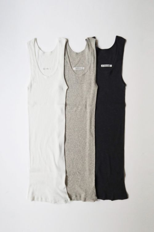 Rib Jersey Cotton Tank Top by Toujours