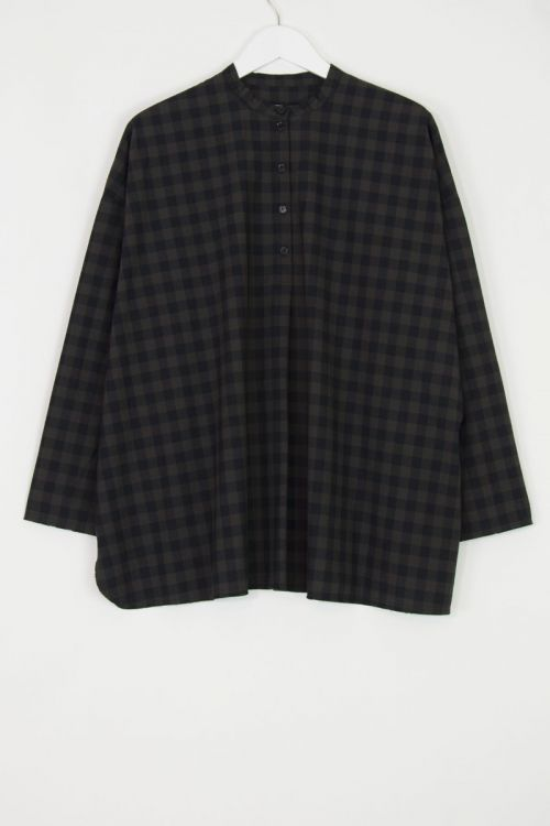 Shirt Inji Dark Brown Check by Manuelle Guibal