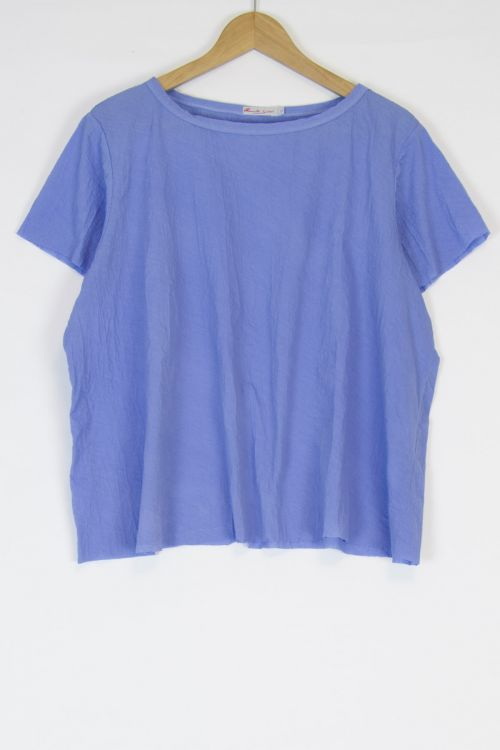 Oversized Japanese Cotton Top Ita Blue by Manuelle Guibal-S