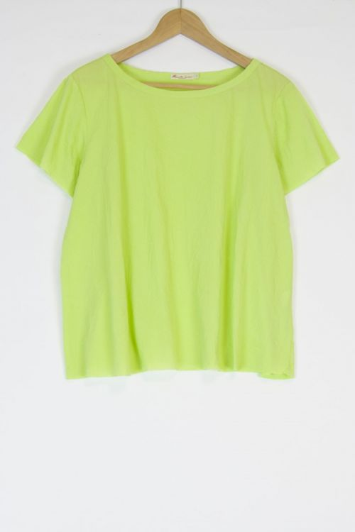 Oversized Japanese Cotton Top Ita Lime by Manuelle Guibal