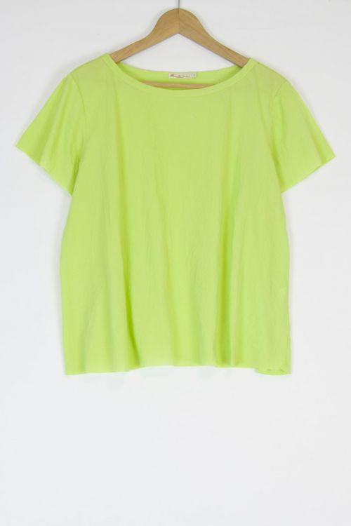 Oversized Japanese Cotton Top Ita Lime by Manuelle Guibal-S