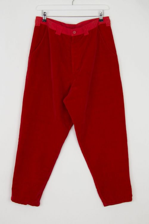 Velvet Worker Pants Fost Red by Manuelle Guibal