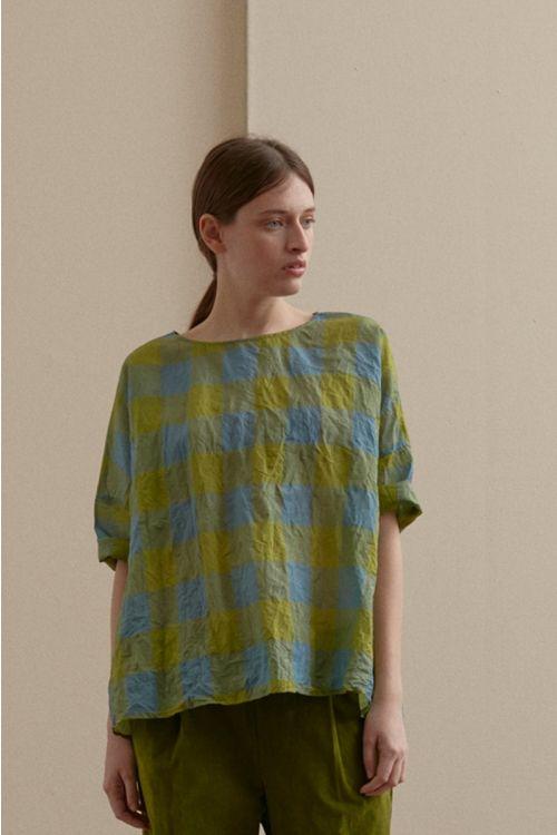 Wide Silk Shirt Green Blue Check by Apuntob-XS