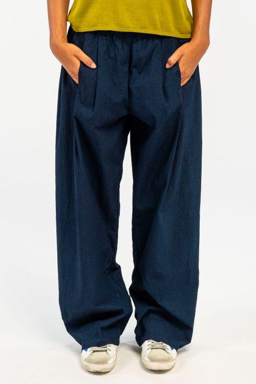 Wide Cotton Trousers Dark Blue by ApuntoB-XS