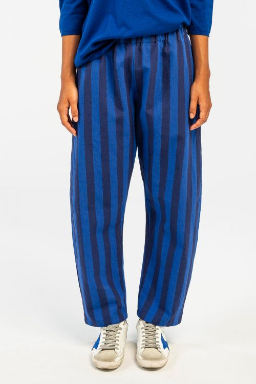 Cotton and Linen Trousers Electric Indigo by ApuntoB-XS