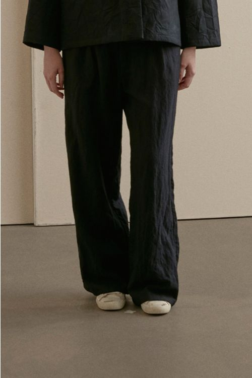 Wide Leg Woolen Trousers Black-XS