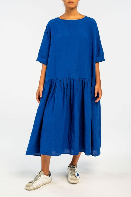 Linen Dress Electric Blue by ApuntoB