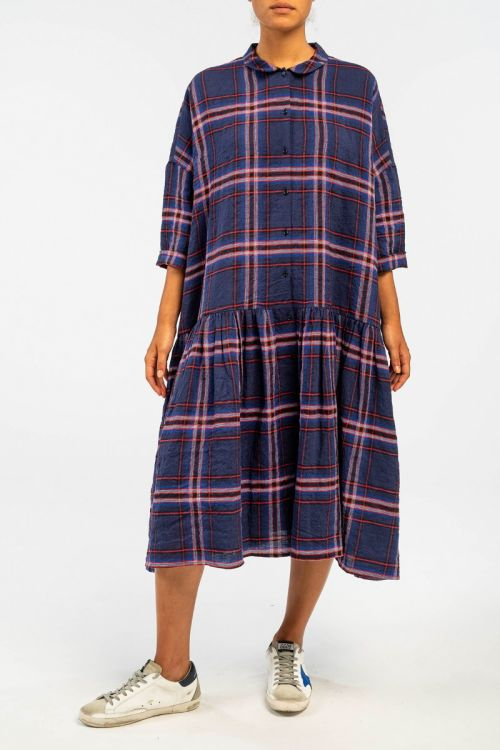 Linen Check Dress Blue/Indigo by ApuntoB