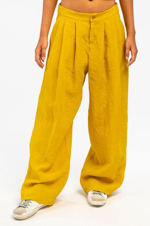 Wide Linen Trousers Lemon by ApuntoB-S