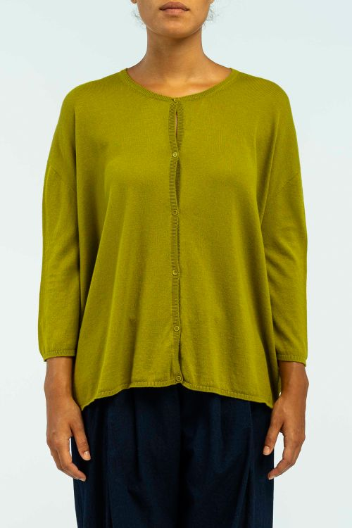 Cotton and Cashmere Cardigan Green by ApuntoB-S