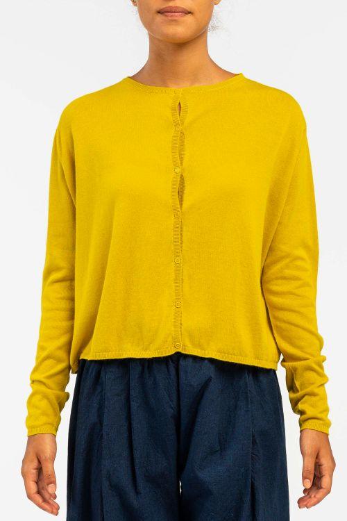 Cotton and Cashmere Cardigan Lemon by ApuntoB-S