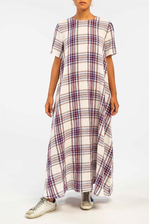 Linen Check Dress Milk by ApuntoB-XS