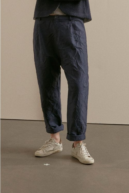 Crinkled Cotton Trousers Blue Grey by ApuntoB-XS