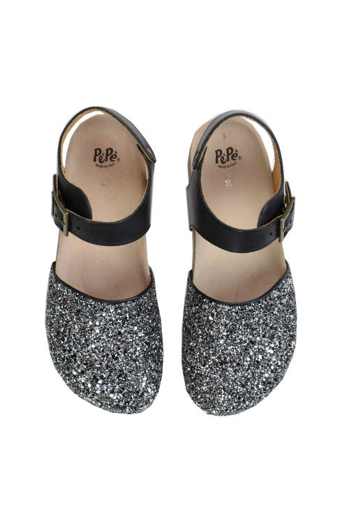 Leather Silver Glitter Closed Toe Sandals by Pepe Shoes