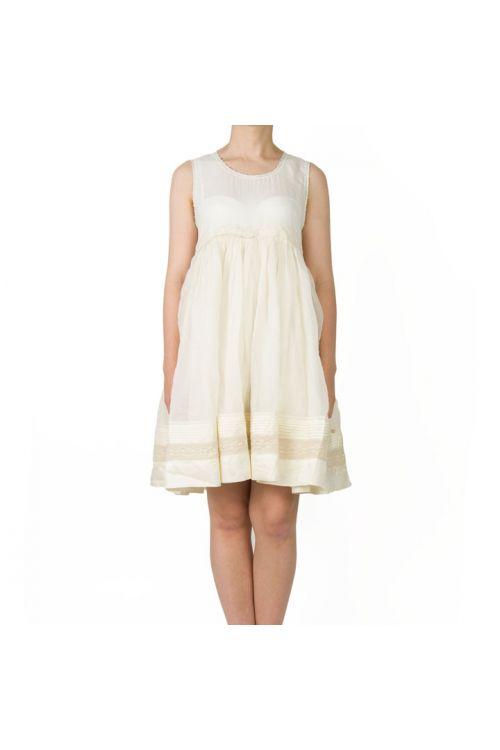 Cotton and Silk Dress Ecru by Pero