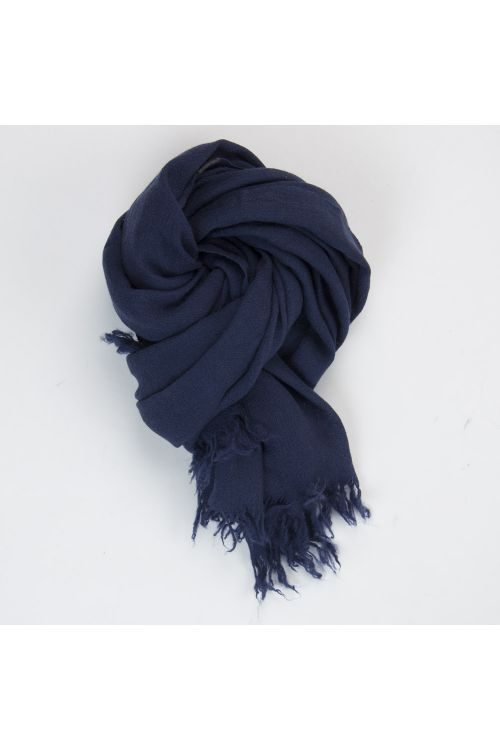 Handwashed Slow Cashmere Scarf Open Navy Blue by Private0204-TU