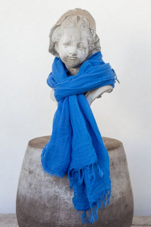 Handwashed Slow Cashmere Scarf Net Royal Blue by Private0204-TU