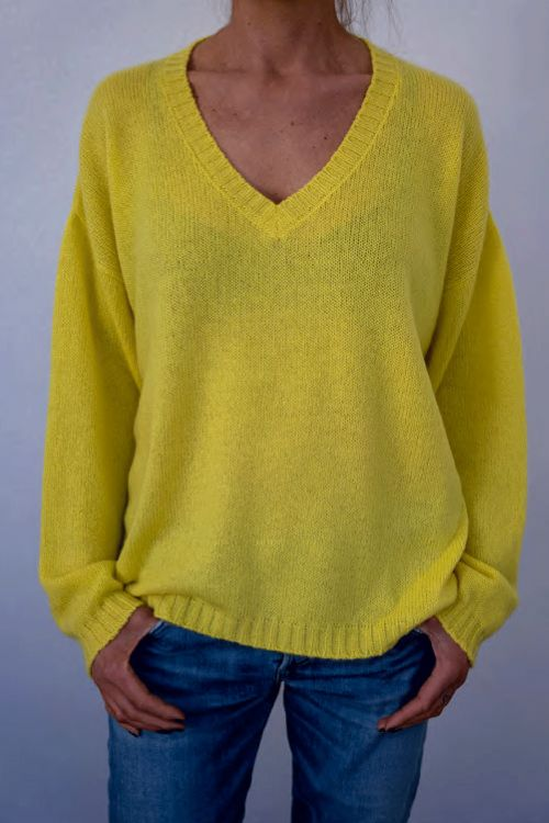 Oversized Cashmere Pullover Yellow by Private0204-M