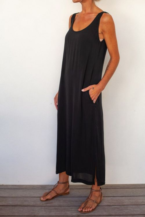 Long Silk Dress Black by Private0204