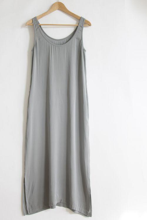 Long Silk Dress Grey Melange by Private0204-S