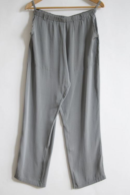 Silk Trousers Grey Melange by Private0204-S