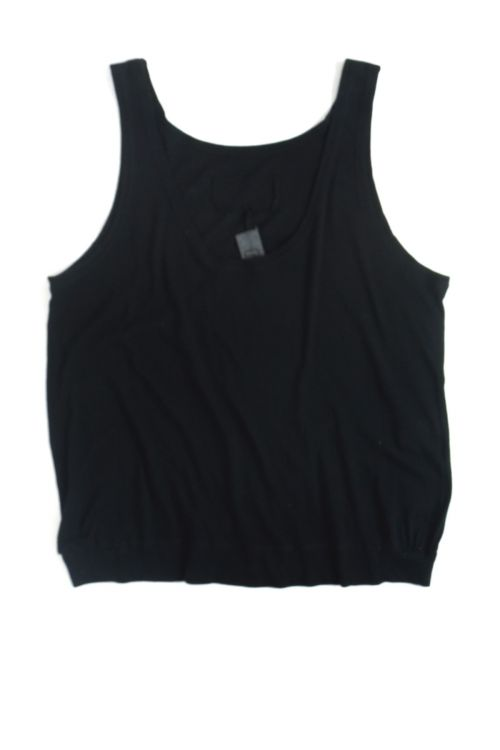 Soft Cotton Wide Tank Top Black by Private0204-S