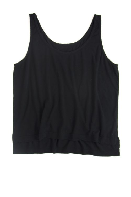 Cotton and Linen Wide Tank Top Black by Private0204