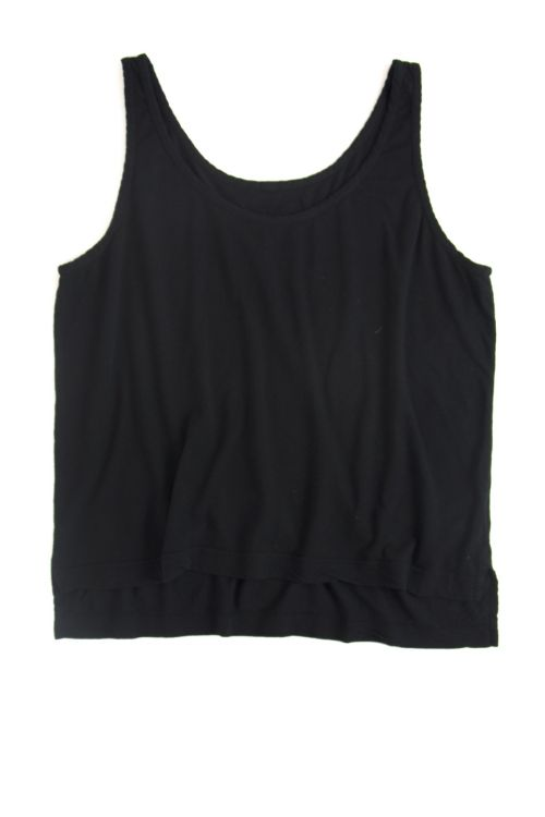 Cotton and Linen Wide Tank Top Black by Private0204-S