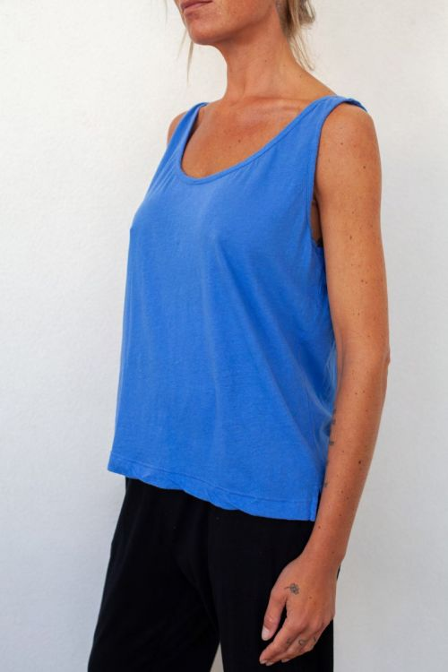 Cotton and Linen Wide Tank Top Royal Blue by Private0204